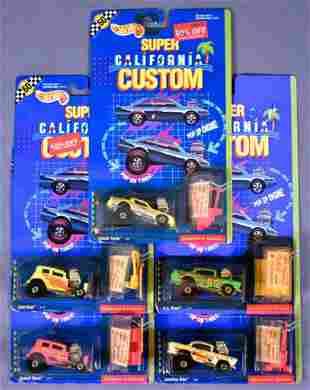 Five Hot Wheels Super California Custom on sealed