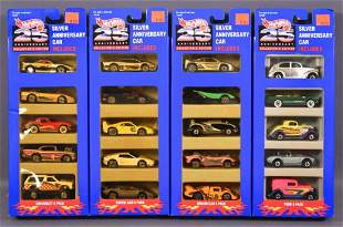 Four Hot Wheels Silver 25th anniversary 5 pack sets in