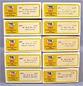Nine TMI Train Miniature HO scale 40' wood box car kits