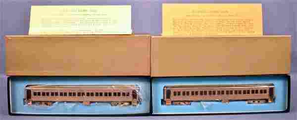 Two NWSL HO scale brass Erie Stillwell coach cars in