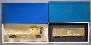 Lambert Associates HO scale brass box car and boom car