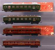Four vintage Marklin HO passenger cars with two