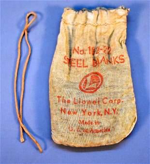 Scarce Lionel postwar O 182-22 bag of steel blanks
