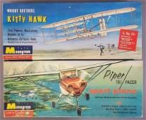 Two vintage Monogram plastic model airplane kits Piper