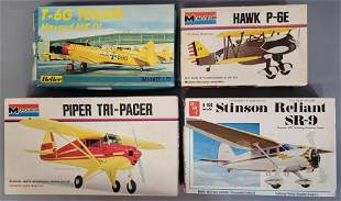 Mixed group of plastic model airplane kits from