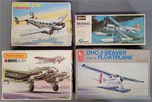 Mixed group of plastic model airplane kits