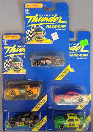 Group of five Matchbox Days of Thunder on blister cards