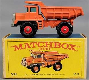 Lesney Matchbox Orange #28 Mack Dump Truck in original