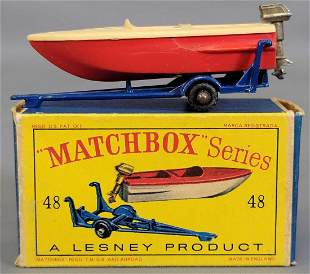 Lesney Matchbox #48 Trailer with removable red Sports