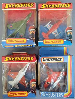 Group of four Lesney Matchbox Sky-Busters in original