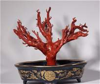 Qianlong sacrificed the blue-painted golden coral tree