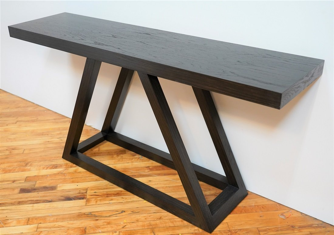 Mecox Triangle Console Table in Dark Stained Oak Finish