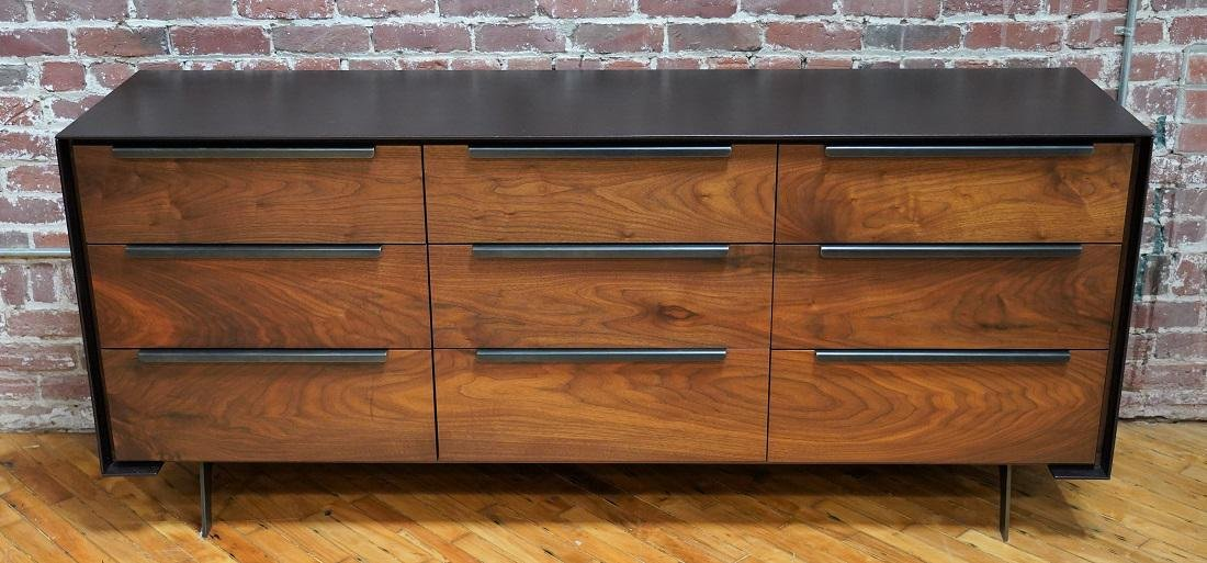 Contemporary Black Leather Clad Wood 9 Drawer Dresser