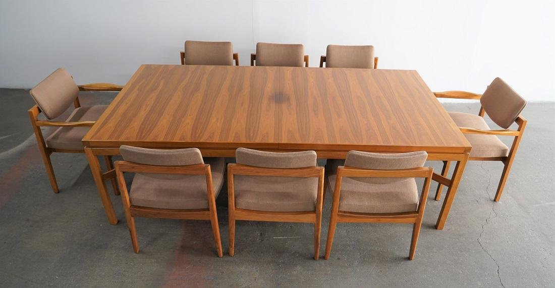 Jens Risom Extendable Wood Dining Table + 8 JR Chairs