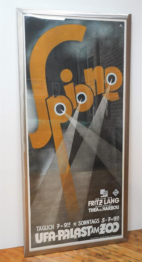 Original Vintage Fritz Lang Spione Movie Poster - 1928