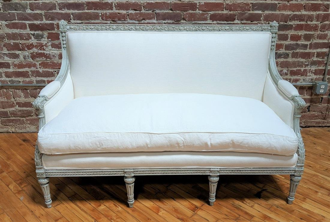 19th Century Settee w Carved Frame and White Linen