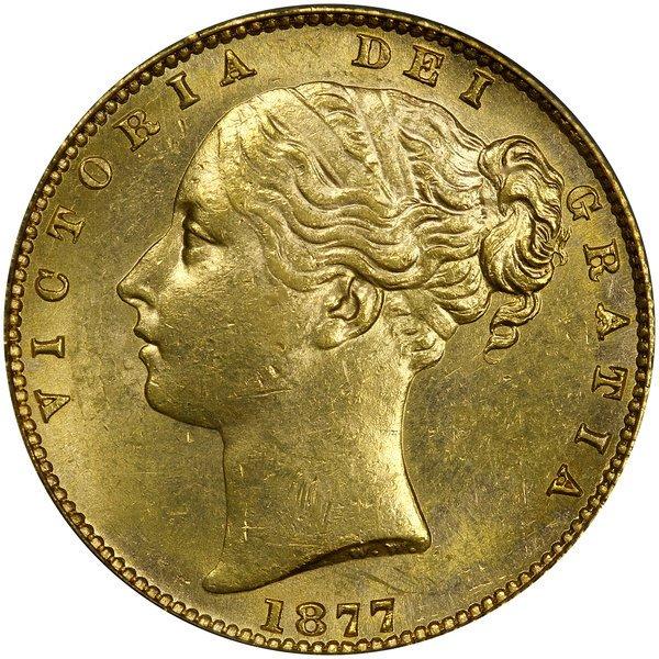 1002: Australia: 1877-S Sovereign. PCGS MS-62.