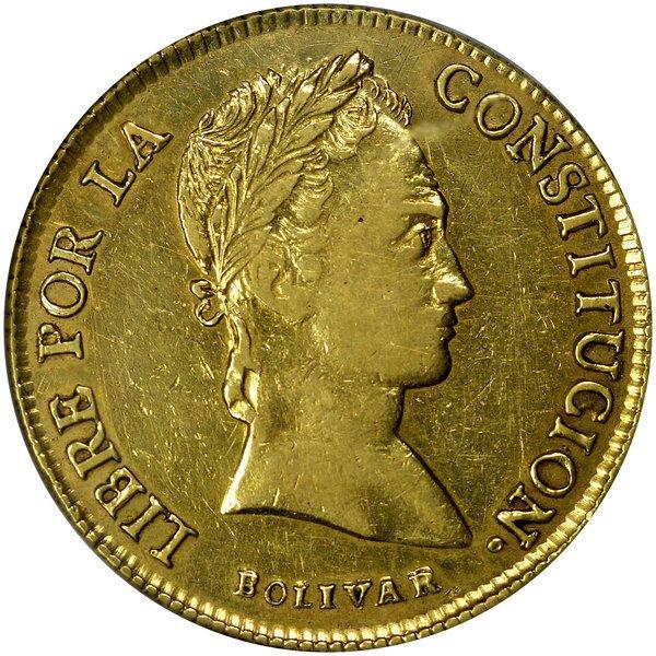 1003: Bolivia: 1844-PTS R, 8 Scudos, PCGS AU-50.