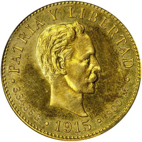 1004: Cuba: 1915 2 Peso, KM #17. PCGS PR-63.