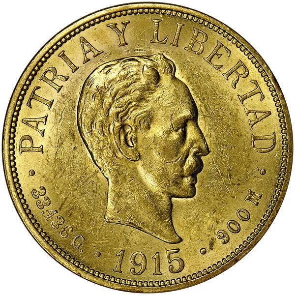 1005: Cuba: 1915 20 Peso, KM #21. ANACS MS-60.
