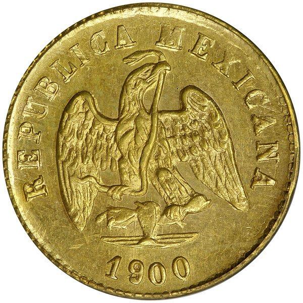 1012: Mexico: 1900-Go R 1 Peso, KM 410.3.