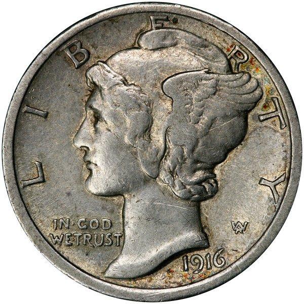 1092: 1916-D Mercury Dime. AU or so.