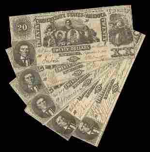 CSA Assortment 1861 $20 T-20 Notes (5)
