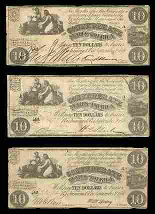 CSA 1861 $10 T-28 Notes (3) All Fine or so