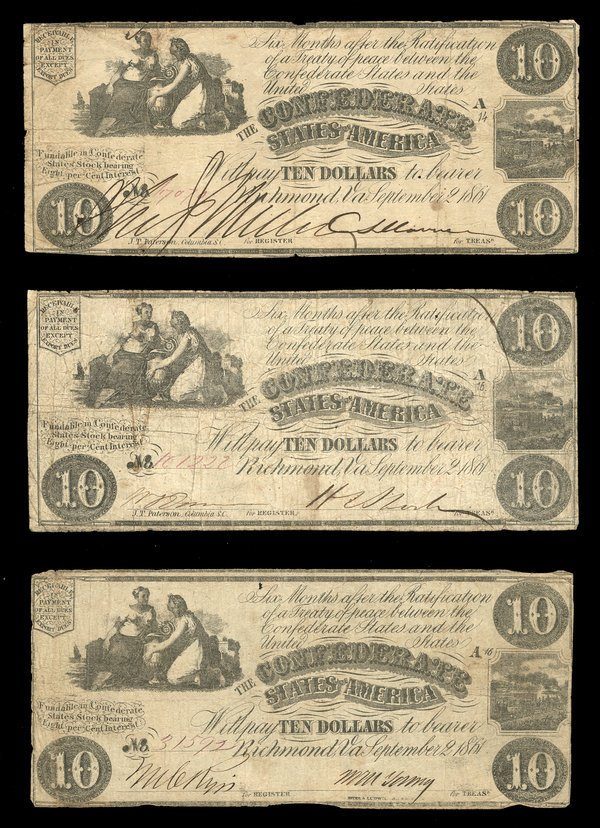 2069: CSA 1861 $10 T-28 Notes (3) All Fine or so