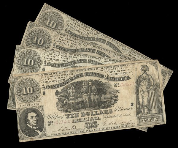 2070: CSA 1861 $10 T-30 Notes (4) Fine