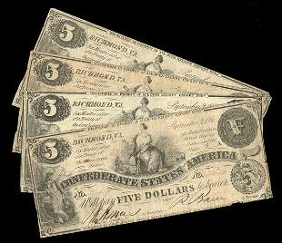 CSA 1861 $5 T-36 Notes (4) VG-F or so