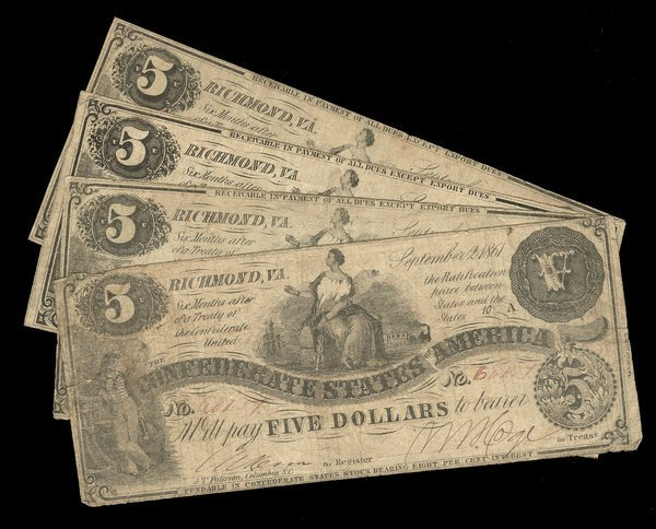 2073: CSA 1861 $5 T-36 Notes (4) Fine or so