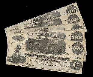CSA 1862 $100 T-39 Notes. (5) Fine