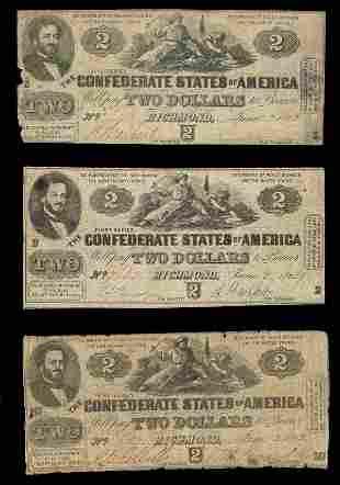 CSA 1862 $2 T-42 Notes. (3) G, VG, F.