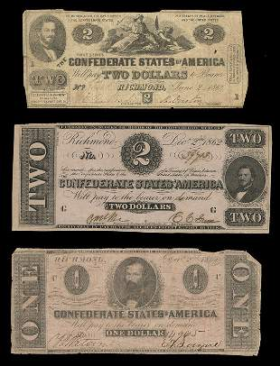 CSA Assorted 1862 Notes. $2 (2). $1 (1).