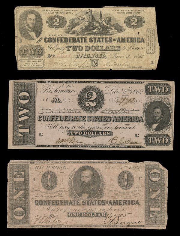 2079: CSA Assorted 1862 Notes. $2 (2). $1 (1).