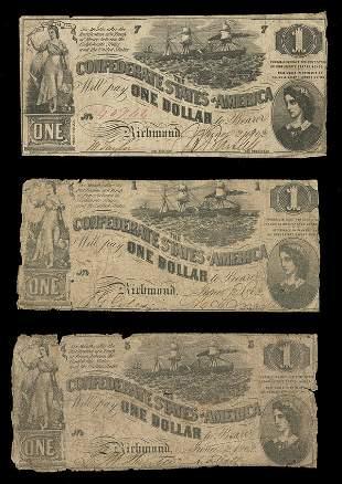 CSA 1862 $1 T-44 Notes (3) G-VG, VG-F, F
