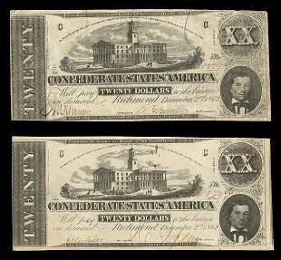 CSA 1862 $20 T-51 Notes. (2) F-VF, VF