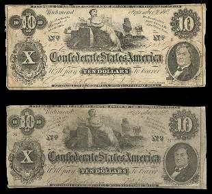 CSA 1862 $10 T-46 Notes. (2)
