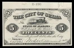 2112: AL City of Selma. 5 cents. 1865 Proof