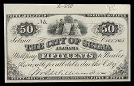 2114: AL City of Selma. 50 cents. 1865 Proof