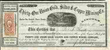 2584 31 Union Gold Silver  Copper Mining 1863
