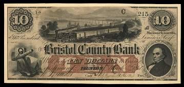 3148: MA Taunton Bristol County Bank $10. 1861