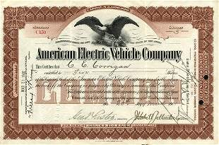 American Electric Vehicle 1901 Stock Cert