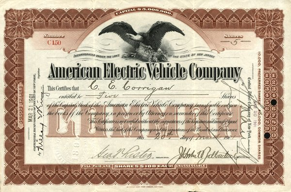 5001: American Electric Vehicle 1901 Stock Cert