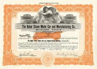 Baker Steam Motor Car & Manuf. Stock