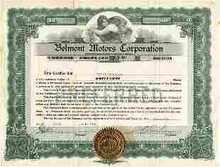 Belmont Motors 1920 Stock Certificate