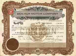Ben-Hur Motor 1916 Stock Certificate