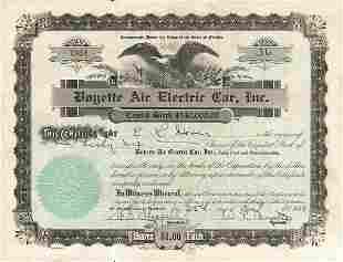 Boyette Electric Car 1934 Stock Certificate