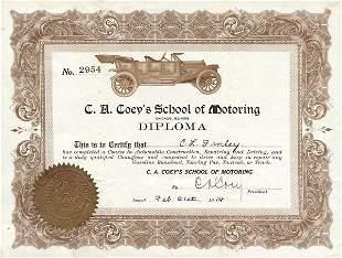 C.A. Coey's School of Motoring 1914 Stock